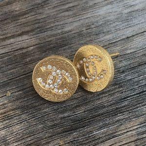Chanel gold & crystal stud earrings